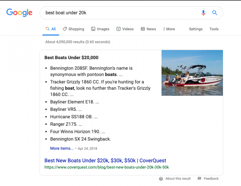 Featured Snippet - Answer Box