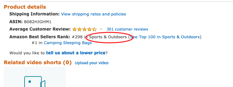 Amazon product category