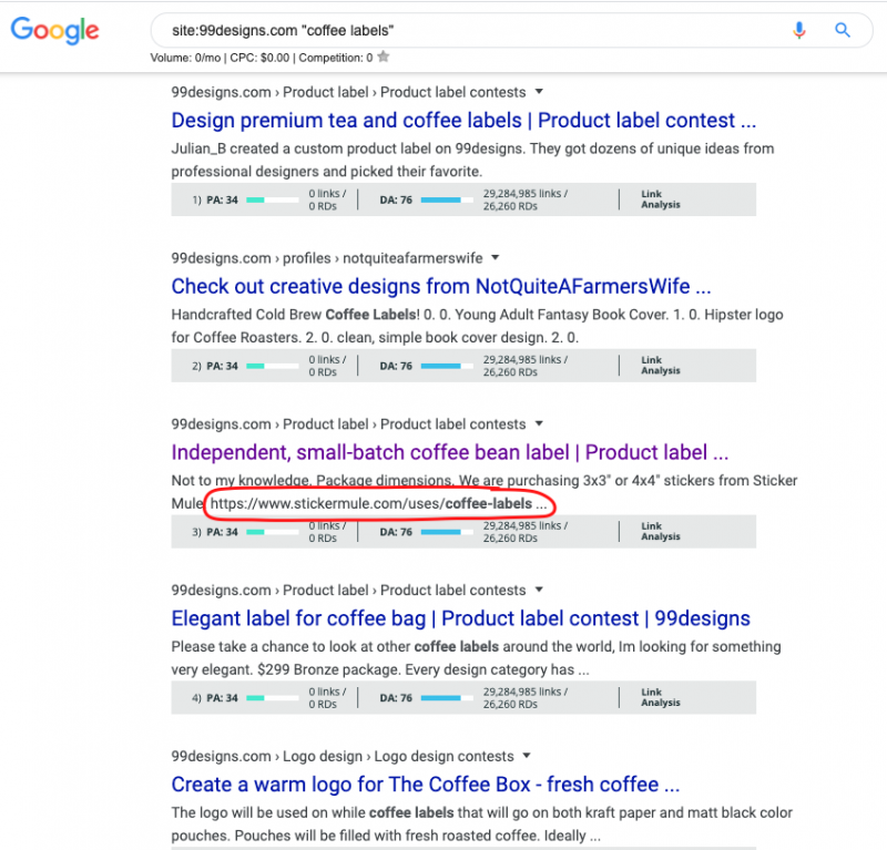 Example site: Google search operator