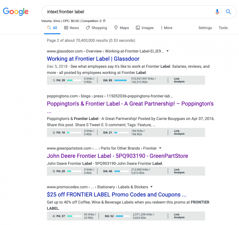 Example intext: Google search operator